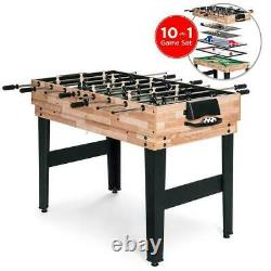 10-in-1 Combo Game Table Set 2x4ft with Billiards, Foosball, Ping Pong, & More