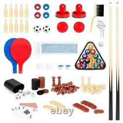 2x4ft 10-in-1 Combo Game Table Set Pool Foosball Ping Pong Hockey Bowling Chess