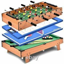 4-in-1 Multi Game Table Set with Air Hockey, Table Tennis, Billiards, Foosball