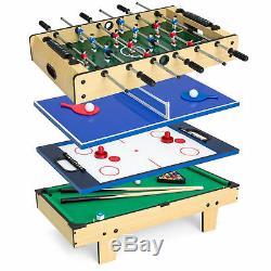 4-in-1 Pool Foosball Ping Pong Air Hockey Arcade Game Table Set Multifunctional
