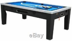 6 in 1 COMBO GAME TABLE POOLAIR HOCKEYPING PONGROULETTEPOKERDINING BLACK