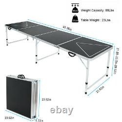 8' Beer Pong Table Folding Table withLED Glow Lights for Outdoor Indoor Game Party