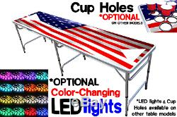 8-Foot Beer Pong Table with OPTIONAL Cup Holes & LED Glow Lights America