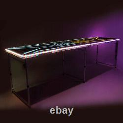 8-Foot Beer Pong Table withCup Holes, LED Lights
