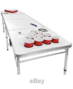 8-Foot Flip Cup Beer Pong Table Set With Holes Tailgate Pool Game Portable Erase