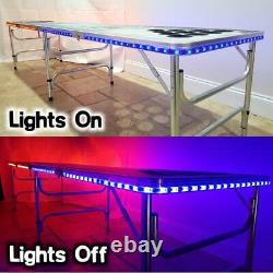 8-Foot Professional Beer Pong Table With Cup Holes Amp Led Glow Lights Trucker