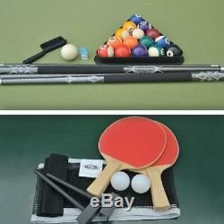 84 Outdoor Wicker Billiard Pool Table and Table Tennis Top with Accessories
