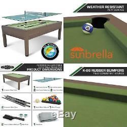 84-inch Outdoor Billiard Pool Table Tennis Top Resin Wicker Weather Resistant
