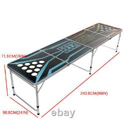 8Ft Professional Beer Pong Table Cup Holes LED Light Party Pong Splash Portable