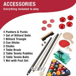 AIR HOCKEY TABLE TENNIS BILLIARD POOL GAME TABLE 7' 3-in-1 Accessories Included