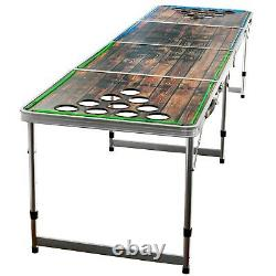 Beer Pong Game Portable Foldable Table Aluminum LED Lights Cup Holder 8 Feet New
