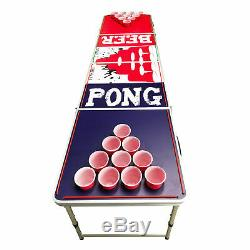 Beer Pong Table 8' Folding Tailgate Drinking Game Cup Holes Led Lights #15