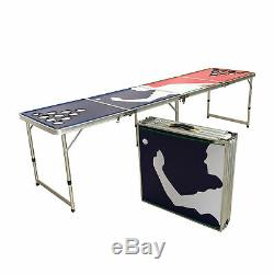 Beer Pong Table 8' Folding Tailgate Drinking Game Cup Holes Led Lights #7