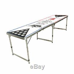 Beer Pong Table 8' Folding Tailgate Drinking Game Cup Holes Led Lights #9