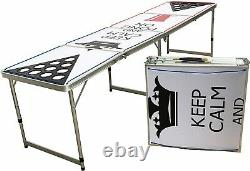 Beer Pong Table Foldable 8 Foot Pre-Drilled Cup Holders, LED Lighting KEEP CALM