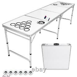 Beer Pong Table Outdoor 8 Foot With Customizable Dry Erase Surface Accessories