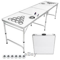 Beer Pong Table Portable Party Custom Dry Erase 8ft Folding Official Cup Holes