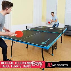 Black & Blue Outdoor/Indoor Tennis Ping Pong Table 2 Paddles & Balls Included