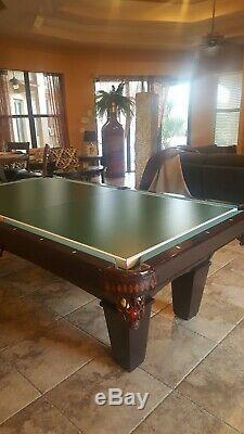 Brunswick Contender Series Slate 8 foot pool table with air hockey, ping pong top