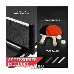 ESPN TT415Y19012 Folding Table Tennis Paddles Balls Mid Size Sturdy Steel New