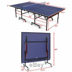Foldable Competition-Ready Table Tennis Table Removable Net Locking Casters Fun