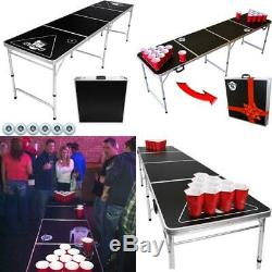 GoPong 8 Foot Portable Beer Pong / Tailgate Tables Black, Football, American Fl