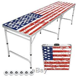 GoPong Foldable Aluminum 8' Folding Beer Pong American Flag Table Indoor Outdoor