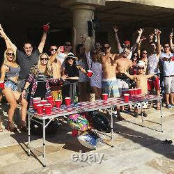 GoPong Portable Aluminum 8' Folding Beer Pong American Drinking Party Table