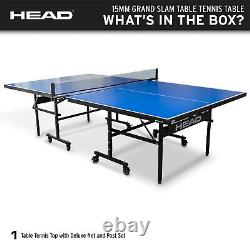 HEAD 15mm Surface Grand Slam Indoor Ping Pong Table Tennis with Net and Post Set