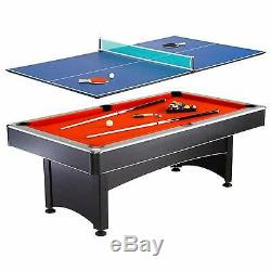 Hathaway Maverick 7-foot Pool / Table Tennis Game with Red Felt and Blue Surfaces