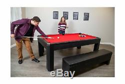 Hathaway Park Avenue 7 Pool Table Tennis Combination with Dining Top, Two St
