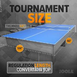 JOOLA Tetra 4 Piece Ping Pong Table Top for Pool Table Includes Ping Pong Ne