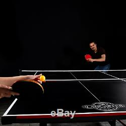 Lancaster 2 Piece Folding Table Tennis Table with 2 Rackets and 3 Orange Balls