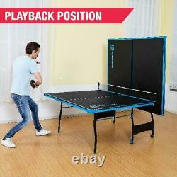 MD Sports Official Size 15 mm Indoor Table Tennis Table, 4 Piece Surface, Paddle