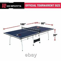 MD Sports Official Size 15mm 4 Piece Indoor Table Tennis, Blue/White/Yellow