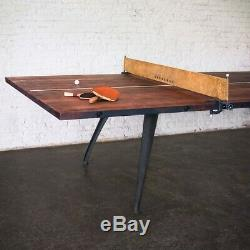 New Indoor Ping Pong Table Tennis with Paddles Leather Net Reclaimed Wood Dining