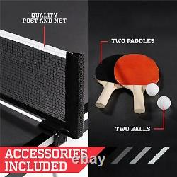 Official Mid-Size Table Tennis Ping Pong Table Indoor With Paddle And Balls