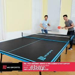Official Size Outdoor/Indoor Tennis Ping Pong Table 2 Paddles Balls Black/Blue