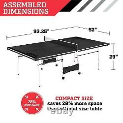Official Size Table Tennis Ping Pong Game Room Indoor Outdoor With Paddle & Balls