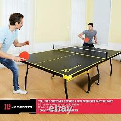Official Size Tennis Ping Pong Indoor Foldable Table, Black/Yellow color