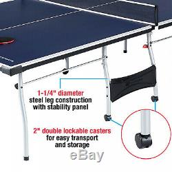 Official Size Tennis Ping-Pong Table Indoor Sport With 2 Paddle, Ball, Post Net