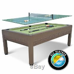 Outdoor Pool Table + Table Tennis Top Includes Billiard + Ping Pong Accessories