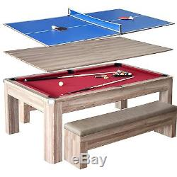 Park Avenue 7' Foot Combo Dining Pool Table Tennis with Bench Seating & Billiards