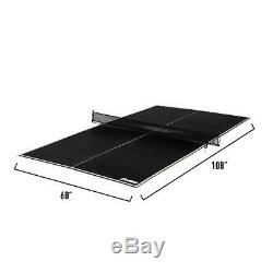 Ping Pong Sports Table Tennis Conversion Top Pool Game Play Black Portable Folds