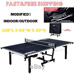Ping Pong Table Table Tennis 18mm 2 Piece Indoor/Outdoor + Cover Blue-White