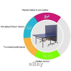 Ping Pong Tennis Net Table with Locking Casters Foldable Indoor Outdoor Use New