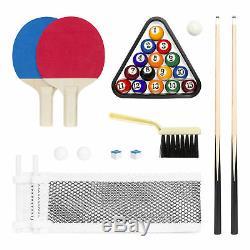 Portable Folding Mini Kids 2-in-1 Ping Pong Billiards Pool Table Set Arcade Game