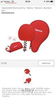 Supreme/Butterfly Table Tennis Racket Set + FREE SUPREME BOX LOGO STICKER