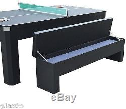 Table Pool Combo Set 7 Foot Billiard Benches Game Ping Pong Tennis Room New
