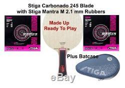Table Tennis Bat Stiga Carbonado 245 Blade + Stiga Mantra M 2.1mm + Case